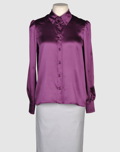 RED VALENTINO - Long sleeve silk button down :  red valentino office jewel tones jewel tone