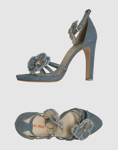 MIU MIU Platform Sandals :  blue shoes heels