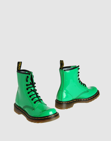 Green Dr. Marten Combat Boots from yoox.com