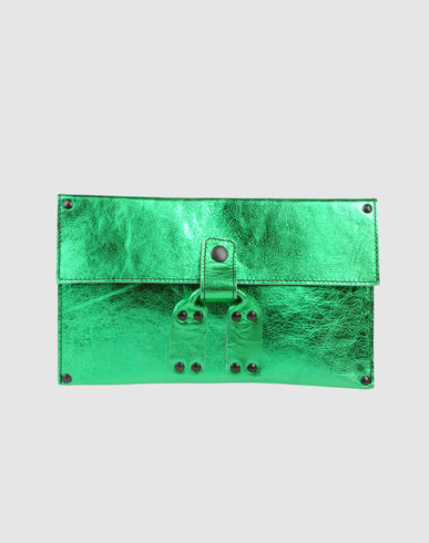 STEPHANE VERDINO Medium Metallic Leather Clutch :  green clutch leather clutch metallic leather clutch bag